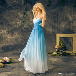 Ombre Long White Prom Dresses Australia - 2019 Blue Ombre Prom Dresses Sweetheart Chiffon Lace Up Back Long Floor Length Gradient Evening Party Dresses Graduation Gowns Custom Made