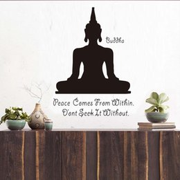 Bathroom Wall Sticker Quotes Australia - 1 Pcs Peace Comes From Within Buddhism Aphorism Quotes Wall Decal Art Yoga Meditation Pose Buddha Wall Sticker Home Decor Bedroom