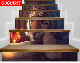 $enCountryForm.capitalKeyWord NZ - Decorate Home 3D tiger animal cartoon art wall Stair sticker decoration Decals mural painting Removable Decor Wallpaper G-651