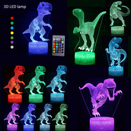 glowing dinosaur toy 2020 - 18 patterns 3D Illusion Dinosaur LED Colors Touch Remote Control Animal Light Up Glow In The Dark kids Toys Christmas Bo