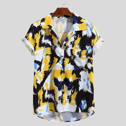 $enCountryForm.capitalKeyWord Australia - 2019 New Fashion High Quality Summer Mens Multi Color Lump Chest Pocket Short Sleeve Round Hem Loose Shirts Blouse Red Yellow