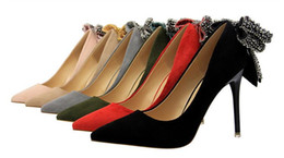 China Wholesale high-quality bowknot diamond women's high heels fashionable and sexy in a variety of colors; red, black, green, khaki, grey and pi supplier sexy fashionable shoes suppliers