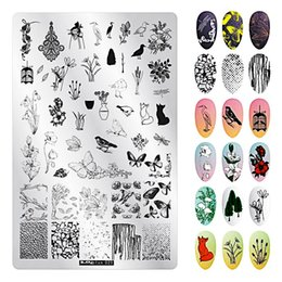 Dog Plates Australia - 9.5*14.5CM Valentine's Day Nail Stamping Template Animal Geometry Cute Dog Rectangle Nail Art Stamping Plate New Arrived