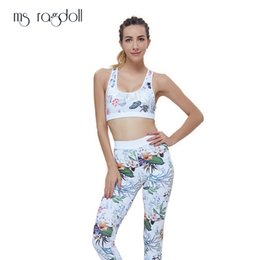 $enCountryForm.capitalKeyWord NZ - Two Piece Suit Women Floral Print Yoga White Set Women Fitness Pants High Waist Leggings Push Up Yoga Pants Summer Sportswear