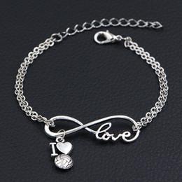 $enCountryForm.capitalKeyWord Australia - Trendy Double Infinity Love I Heart Volleyball Pendant Charm Bracelets Bangles Vintage Metal Link Chain Bracelets Jewelry For Women Men Gift