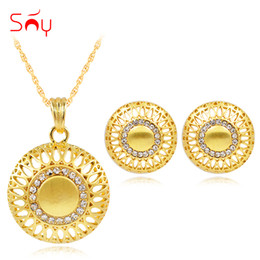 $enCountryForm.capitalKeyWord Australia - sets Sunny Maxi Sets For Women Necklace Earrings Pendant Alloy Zircon Round Flower Luxury Dubai Jewelry Gift