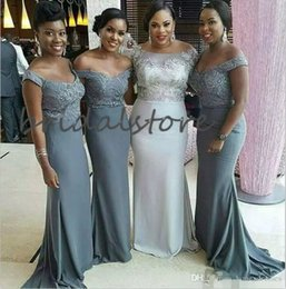 royal blue silver grey for wedding UK - Elegant Grey Mermaid Bridesmaid Dresses Off Shoulders Plus Size Maid Of Honor Dress Appliques Garden Wedding Guest Dresses For African Wear