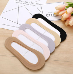 Ladies invisibLe socks online shopping - Summer ladies thin socks silicone ice silk non slip invisible socks sweat absorb breathable boat socks