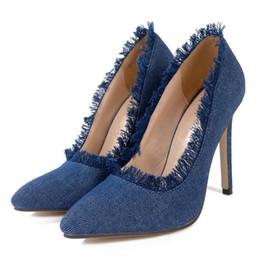 4d64077315e66 Women Office Slip On Pumps Denim Stiletto Sexy Lady Tassel High Heels Dress  Shoes Party Evening Stilettos Sandals