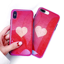 Plastic Red Heart Australia - 3D Bling Glitter Blue Ray Silicon Case for Iphone X Xs 8 7 6 6s Plus Phone Shell Cases Kawaii Luxury Heart Design 8plus Cover 10pcs lot