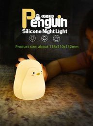 $enCountryForm.capitalKeyWord Australia - LED night light Mini cartoon penguin silicone night light USB charging pat light baby atmosphere small table lamp
