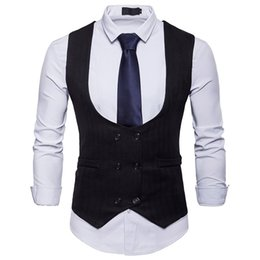$enCountryForm.capitalKeyWord UK - Mens Black Double Breasted Suit Vest 2019 Brand New Slim Fit Waistcoat Vest Men Business Casual Wedding Gilet Costume Homme XXL