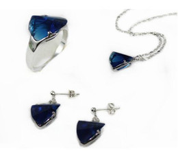 $enCountryForm.capitalKeyWord Australia - Jewelryr Jade Set 3 colors wholesale christmas gift blue red pink crystal ring(#7.8.9) stud earrings & chain pendant jewelry s Free Shipping