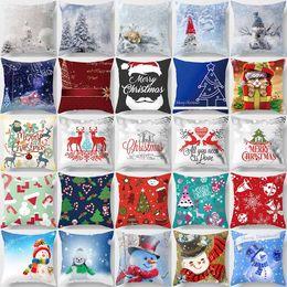 christmas design case 2019 - Creative design merry Christmas beautiful picture anime cartoon pattern men women square pillow case snow pattern case d