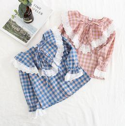 $enCountryForm.capitalKeyWord Australia - Kids Designer Clothes Plaid Girls T Shirts Lace Girl Tees long Sleeve Children Tops Summer Kids Clothing Pink Blue Optional DHW4091