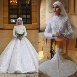 Gold muslim dress online shopping - Arabic Vintage Muslim Wedding Dresses Long Sleeves High Collar Lace Beaded Cathedral Train Customize Wedding Gowns with Veil Bridal Dress