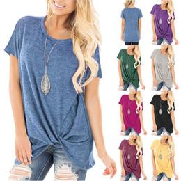 Camisetas de diseñador para mujer Pring y verano. Nueva explosión europea y americana. Ropa de mujer de manga corta con cuello redondo anudado. en venta