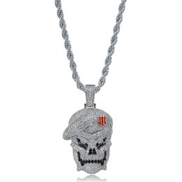 $enCountryForm.capitalKeyWord Australia - Mens Hiphop Skull Pendants Silver Plated Necklace Iced Out Hip Hop Jewelry Bling CZ Stone Men Skeleton Necklaces