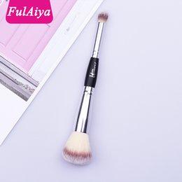 $enCountryForm.capitalKeyWord NZ - Double Head Multi-function Makeup Brush 18cm Shadow Repair Capacity High Gloss Brush Nose Shadow Loose Powder Makeup Beauty Silver Color