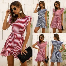 cowgirl dresses UK - Cowgirl Rodeo Westwear2020 Summer Cross-Border European and American Womens New Fashion Flying Sleeve Striped Ruffles Dress
