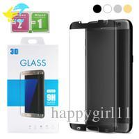 S7 Edge Glasses Australia - 3D Full Cover Round Curved Surface For Samsung Galaxy S7 Edge S8 S9 Plus Note8 Screen Protector S7edge Case Free Friendly Tempered Glass