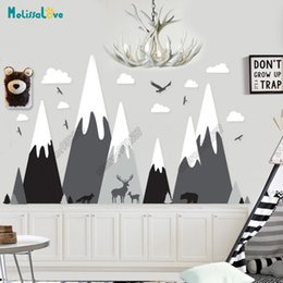 BaBy Bear stickers online shopping - Big Baby Room Decal Adventure Theme Huge Mountain Cloud Bird Deer Wolf Bear Nursery Room Removable Vinyl Wall Sticker JW374