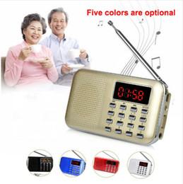 Ingrosso Mini USB L-218 Digital LCD altoparlante radiofonico del MP3 Player TF di sostegno con la torcia elettrica del LED Radio portatile FM / AM Speaker
