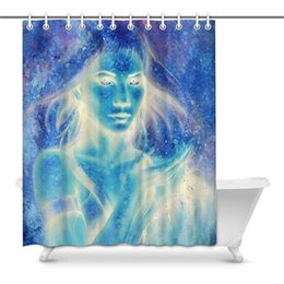 curtain height UK - Abstract Goddess Woman Painting in Winter Effect Waterproof Shower Curtain Decor Fabric Bathroom Set with Hooks, 60(Wide) x 72(Height)
