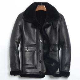 6b1b4092287 Genuine Leather Jacket Men Winter Jacket Natural Fur Real Sheepskin Coat  for Men Lamb Fur Bomber Jackets Plus Size 4xl MY1884