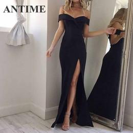 $enCountryForm.capitalKeyWord NZ - Antime Maxi Split Party Dress Women Casual Deep V Neck Spring Summer Short Sleeve Solid A Line Long Elegant White Sexy Dresses Q190511