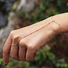 $enCountryForm.capitalKeyWord Australia - FLTMRH Multi Bangle Slave Chain Link Interweave Finger Rings Hand Harness Bracelets Gold