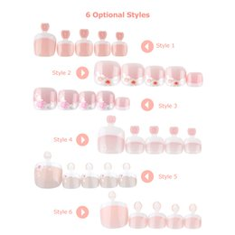 french nails toes Australia - toenails 24Pcs Nails Foot Toenail Tablets False Toenail Tips French Full Cover Fake Toe Stickers Tip Patches Manicure Decoration