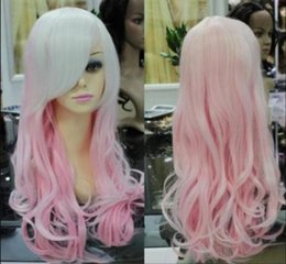 hot pink curly wig NZ - WIG FREE SHIPPING Hot heat resistant Party hair>>>>>COSPLAY new pink mixed long curly cosplay full wig +gift cap