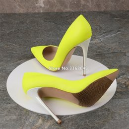 f69bf4fbe New Fashion Yellow White Color Popular Woman Pointed Toe Pumps Shallow Thin  High Heels Big Size Woman Stilletos Party Shoes