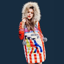 Ducks Prints NZ - Winter Warm Knitted Fur Collar Hooded Down Jacket Fashion Female Cartoon Print Women Windproof White Duck Down Pullovers YP1630