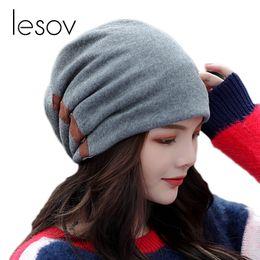 c61b305fc13ce Lesov Fashion Cotton Beanie Hat Women Men Double-breasted Double Layer Warm  Winter Hat Slouchy Sport Caps Hip Hop Ski Snow Caps