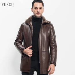 Double Thick Hat Australia - YUKOU Brand Men Coat Double-Faced Fur Sheepskin And Woolen Outwear Long Winter Merino Sheep Fur Warm Thick Hat Removable