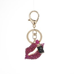 black women lipstick NZ - 2020 Interesting Sexy Crystal Lipstick Keychain Women Fashion Bag Charms Hanging Mouth Creative Shoes Lips Key Chains Chaveiro