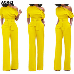 Wholesale working clothes for female online – Women Jumpsuit One Shoulder With Sashes Pockets Officewear Romper Combinaison Fashion Female Jumpsuits For Elegant Lady Clothing Y19060501