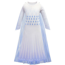 Wholesale performing clothing online – ideas Kids Cosplay Princess Gown Girls Long Sleeve Gradient Color Mesh Dress Kids Designer Clothes Girls Snow Queen Party Perform Costume