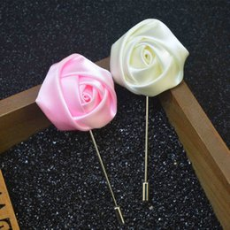 $enCountryForm.capitalKeyWord Australia - New Best Man Groom Boutonniere Silk Satin Rose Flower Men Buttonhole Wedding Party Prom Man Suit Corsage Pin Brooch