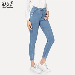 roll up jeans Australia - Dotfashion Blue 2019 Solid Ripped Roll-Up Skinny Jeans Woman High Waist Pants Autumn Casual Fashion Button Fly Denim Trousers