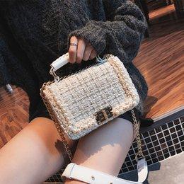 Ladies Lace Handbags Australia - Small Fragrance Pearl Woolen Bag 2019 Fashion New Women Handbags High Quality Woolen Female Bag Lady Temperament Shoulder Bag