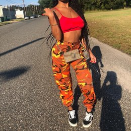 camouflage pants fashion NZ - Heyoungirl Women Camouflage Pants Casual Pink Camo Sweatpant Fashion Gray Orange Camo Pants High Waist Loose Ladies Trousers Q190511