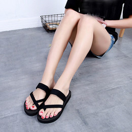 Wholesale Canvas High Shoes Australia - casual Slippers Flat Sandals Women High Heel Zapatillas Summer Shoes Fashion Straped Slippers Beach Flip Flops Solid Slides #