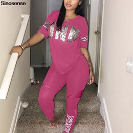 Wholesale plus size long pants for sale – dress Women Fitness Sporting Two Pieces Set T Shirt Long Pants Casual Letter Print Pink Piece Outfits Plus Size Pink Clothing