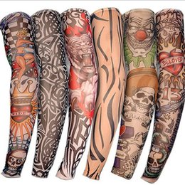 Wholesale 2019 Fashion Elastic Tattoo Sleeves Riding UV Care Cool Printed Sun-proof Arm Protection Glove Fake Temporary Tattoo for Men Women