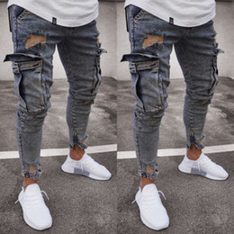 man style slim long pants 2019 - Fashion Mens Ripped Skinny Biker Jeans Frayed Slim Fit Long Denim Pants Hole Design Street Style Free Shipping cheap man