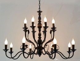 $enCountryForm.capitalKeyWord Australia - Luxury Rustic Wrought Iron Chandelier E14 Candle holder hanging light Black Vintage Antique Home Chandeliers For Living room lamp MYY