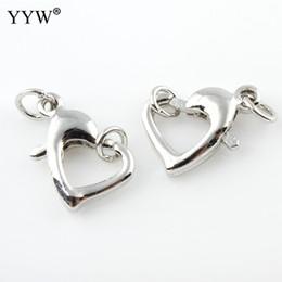 $enCountryForm.capitalKeyWord Australia - 50pcs lot Lobster Clasp 13x9x3mm Heart Design Silver Color Clips Key Split Key Ring Findings Clasps for Bracelet Necklace Making